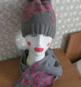 Шапочка и шарф из кашемира