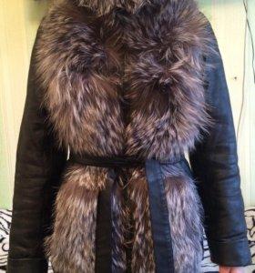 Кожаная куртка с чернобуркой трансформер