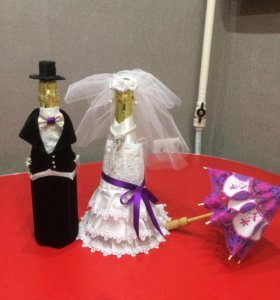 Свадебные украшения на стол молодых