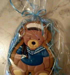 Подарок имбирный пряник Мишка- морячок