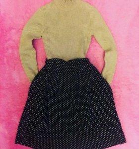 Чёрная юбка в горошек 40-42/XS-S