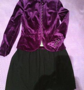 Бархатный нарядный пиджак, чёрная юбка