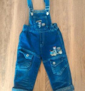 Джинсовые брюки с бретельками