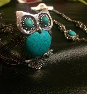 Кулон и браслет сова