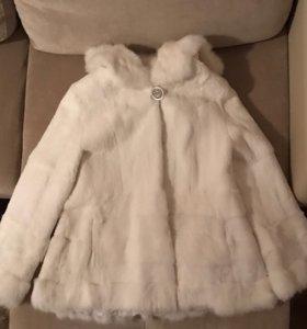 Натуральная свадебная шуба из меха кролика