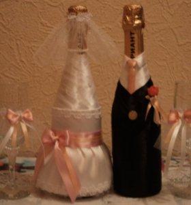 Декорирую бокалы,букеты,шампанское и другое