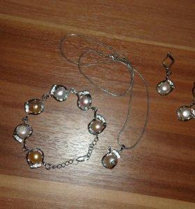 Комплект серьги, браслет и подвеска