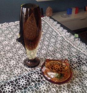 Комплект ваза и пепельница