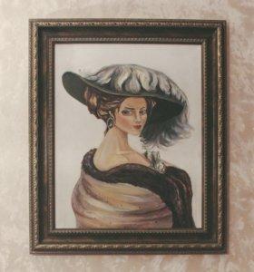 Картина маслом, холст на подрамнике+багет