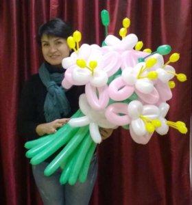Букет с тычинками из воздушных шаров