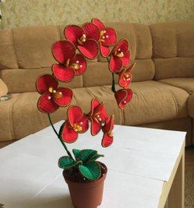 Красная орхидея ручной работы