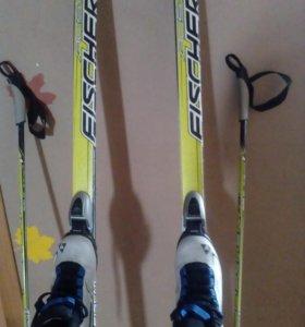 Продам детские лыжи Fischer. Размер ботинок 37