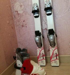 Детские горные лыжи с ботинками б/у