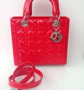 Кожаная сумка CD Lady Dior red patent
