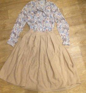 Шерстяная юбка Миди длинная, блузка вискоза