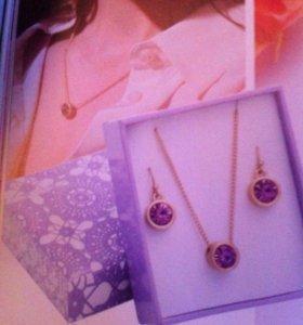 """Ожерелье и серьги в подарочной коробке """"Вайолет"""""""