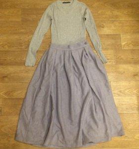 Шерстяная юбка Миди длинная xs- s, 40-42
