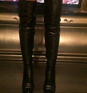 Кожаные сапоги-ботфорты новые !