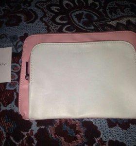 Сумочка-клатч розовая с белым