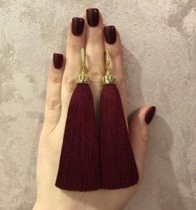 Серьги кисти кисточки цвет Марсала 100% шелк