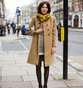Бежевое пальто(тренч)