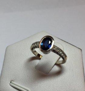 Кольцо бриллианты и сапфир