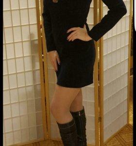 Велюровое чёрное платье