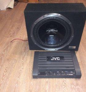 Сабвуфер Sony xplod 1300w+ усилитель JVC KS-AX-580