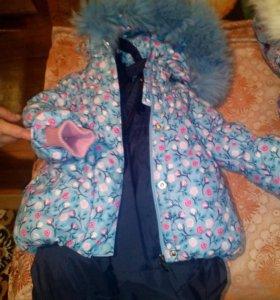 Зимний костюм мех песец для девочки 92+