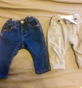 Джинсы и вельветовые штанишки 3-6 мес Zara kids