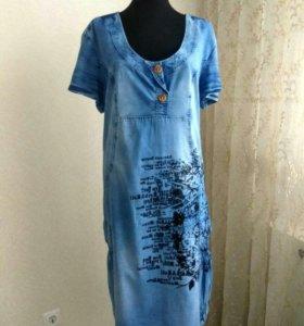 Джинсовое платье 💮р-р 56