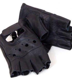 Кожаные перчатки митенки