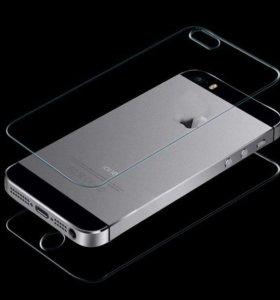 Защитное стекло на iPhone 5/5s переднее и заднее