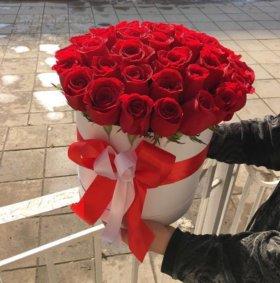 (Композиция #9) Розы в шляпной коробке, цветы