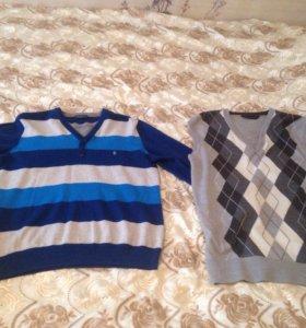 Мужские рубашки XL,жилетка M и пуловер L