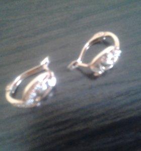 Серебряные серьги 925, позолота