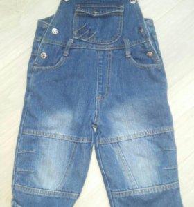 Комбинезон джинсовый на флисе 2-3 года