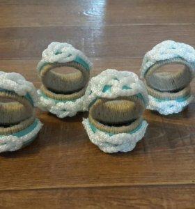Набор сервировочных колец с морскими узлами