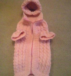 Зимние пальтишко с шапочкой для собачки и косточка