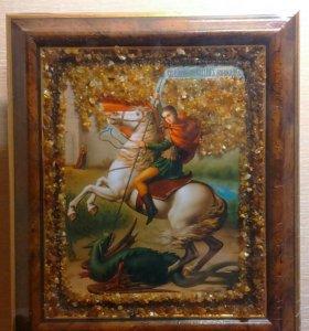 Иконы с янтарем ручной работы (балтийский янтарь)