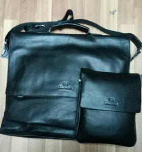 Большой кожаный,портфель,формат А3