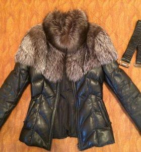 Кожаная куртка-пуховик с чернобуркой