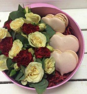 Подарочный набор с цветами и печеньками!!!