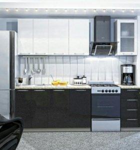 Кухня Модульная Олива МДФ Белая с Черным