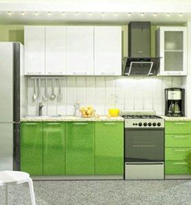 Кухня модульная Олива МДФ Белая с Зеленым