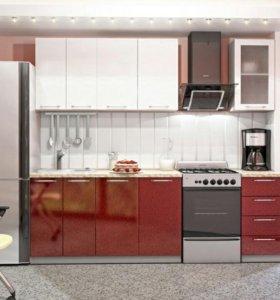 Кухня модульная Олива МДФ Белая с Гранатовым