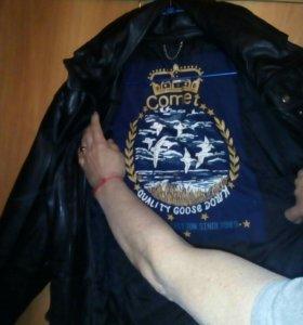 Куртка кожаная- пухавик, с капюшоном