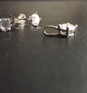 Серьги +подвес серебряный с фианитом