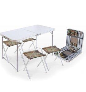 Кемпинговая мебель. Раскладной стол + 4 стула.
