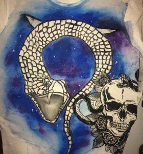 Роспись акрилом футболок